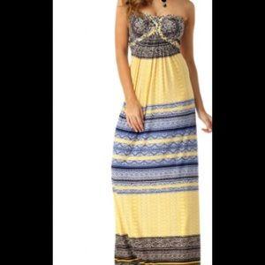 Sky Brand Yellow Blue Print Stripe Maxi Dress